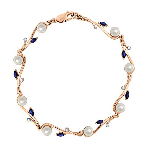 - KATARINA Diamond and Pearl with Marquise Cut Sapphire Fashion Bracelet in 14K Rose Gold (6 3/4 cttw, G-H, I2-I3)