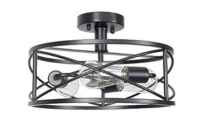 Houzlamod Matte Black Semi-Flush Mount Ceiling Light, 3-Light