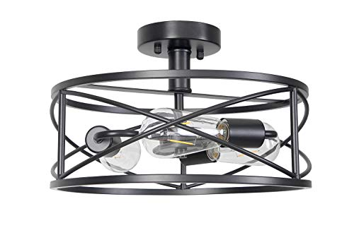 Houzlamod Matte Black Semi-Flush Mount Ceiling Light, 3-Light