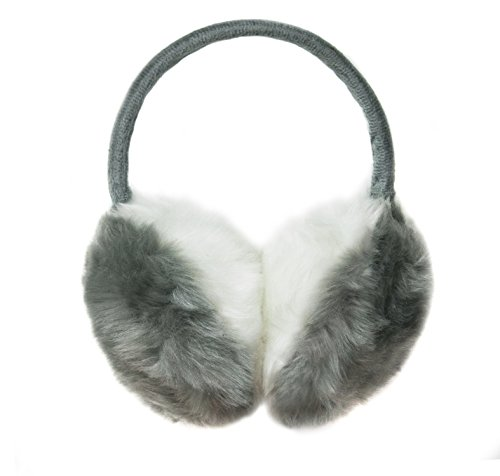 Plush Earmuff for Winter, Warm with Adjustable Frame (Grey with white) (Plush Ear Muffs Warm)