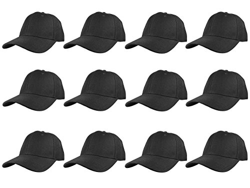 Gelante Plain Blank Baseball Caps Adjustable Back Strap Wholesale LOT 12 Pack- 001-Black