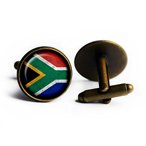 South Africa South African Flag Antique Bronze Cufflinks