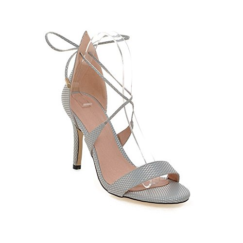 Gray Open Solid AgooLar Up Spikes Women's Sandals Lace Stilettos Toe WqnRAzU41