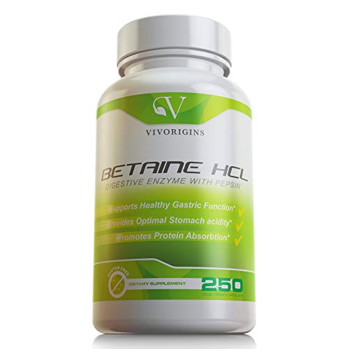Premium Betaine HCL with Digestive Enzyme Pepsin- 250 Capsules- Healthy Gastric Function - Improves Digestion - Promotes Protein Digestion & Mineral Absorption - Gluten Free