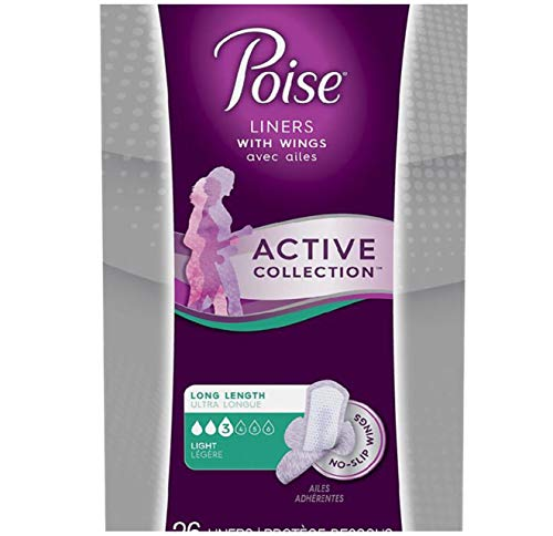 Active Collection - Poise Active Collection Incontinence Liners with Wings, Light Absorbency (Light - 26 Liners)
