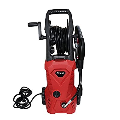 GRELE 3000PSI 2GPM Electric Pressure Washer with Hose Reel & 5 Extra Turbo Nozzle
