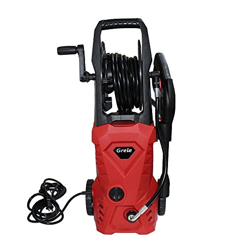 Find Discount GRELE 3000PSI 2GPM Electric Pressure Washer with Hose Reel & 5 Extra Turbo Nozzle