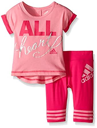 Amazon Adidas Baby Girls Short Sleeve Tee and Capri
