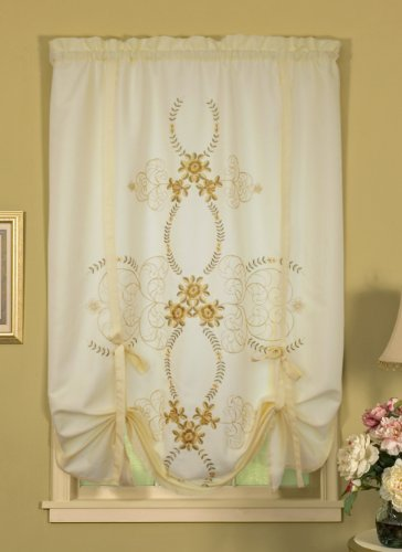 Today's Curtain Verona Reverse Embroidery Tie-Up Window Shade, 63-Inch, Ecru/Antique