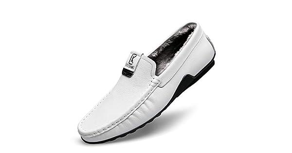 Amazon.com: Hemei Zapatillas de piel para hombre, para otoño ...