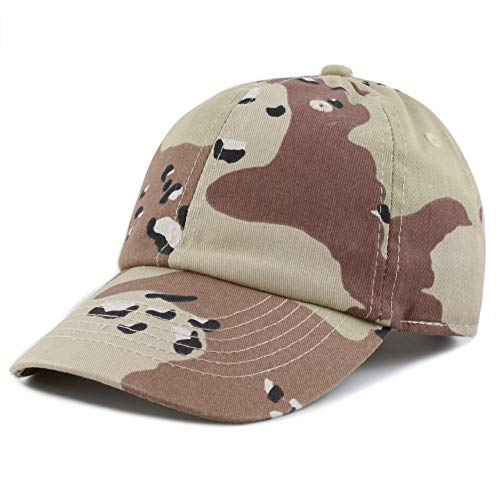 The Hat Depot Kids Washed Low Profile Cotton and Denim Plain Baseball Cap Hat (Desert Camo)