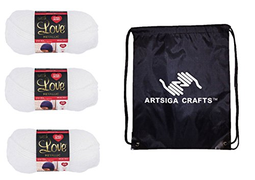Red Heart Knitting Yarn with Love Metallic White 3-Skein Factory Pack (Same Dyelot) E400BM-8010 Bundle with 1 Artsiga Crafts Project Bag (Red Shimmer Heart)