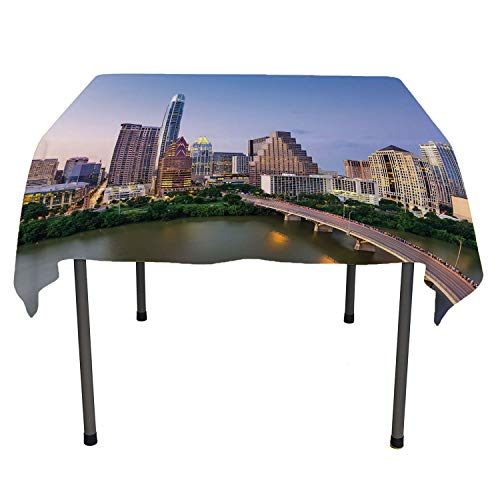 Modern tablecloths Party Decorations Austin Texas American City Bridge Over The Lake Skyscrapers USA Downtown Picture Multicolor Washable Outdoor Table Cloth Spring/Summer/Party/Picnic 54 by 54 ()