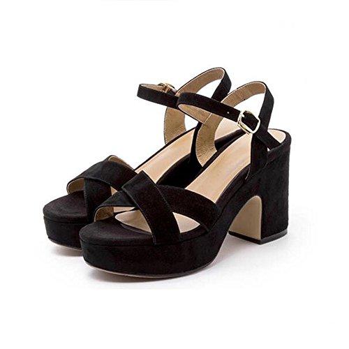 Sandalias De Tacón Alto Cruz Femenino Negro