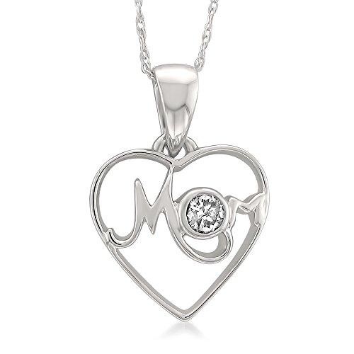 14k White Gold Round Diamond Mom Heart Pendant Necklace (1/10 cttw, I J, I1 I2)