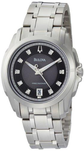 Bulova Men's 96D110 Precisionist Longwood Diamond Black Dial Bracelet Watch (Dial Mens Diamond Black Bulova)