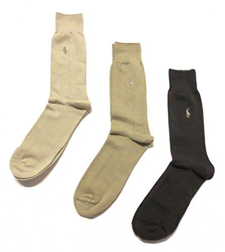 Mens Polo Ralph Lauren Dress Socks 3 Pack (One Size, Beige/Tan/Brown)