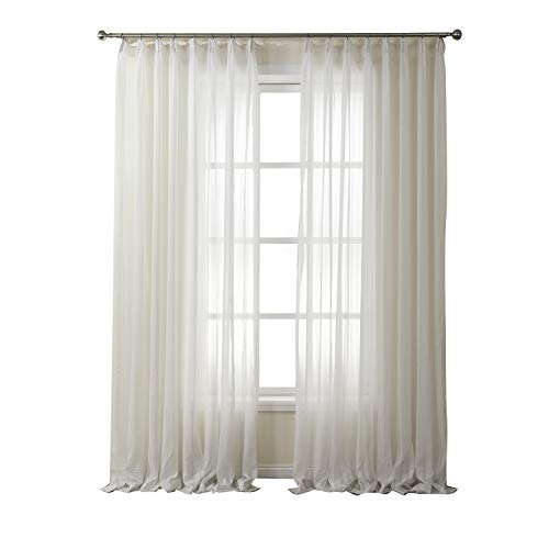 Artdix Sheer Curtains Panels Window Drapes - White 72W x 84L Inches (2 Panels) Double Pleated Voile Solid Fabric Semi Sheer Curtains for Bedroom, Living Room, Kids Room, Kitchen