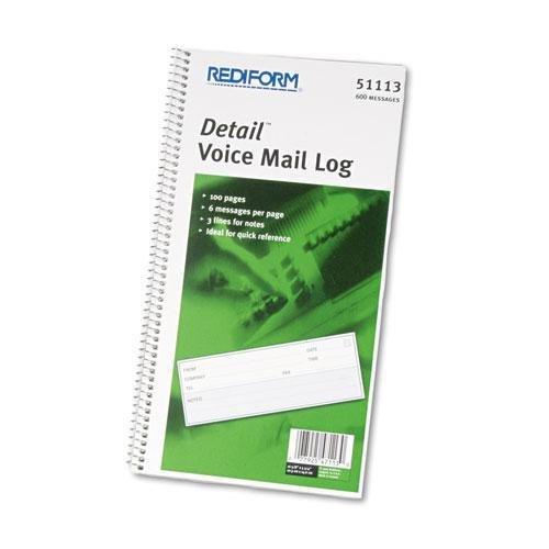 (Rediform 51113 Voice Mail Wirebound Log Books, 5 5/8 x 10 5/8, 600 Sets/Book)