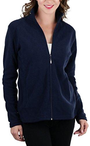 (ToBeInStyle Women's Zip High Collar Polar Fleece L.S. Jacket - Navy - Small)