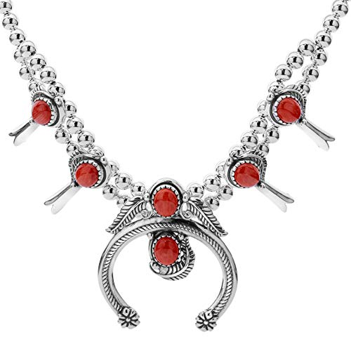 American West - Sterling Silver & Gemstone Squash Blossom Statement 16 Inch Necklace - Classics Collection (Red Coral)