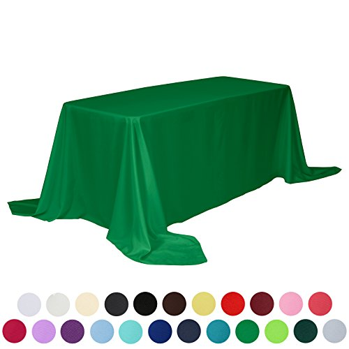 VEEYOO 90 x 132 inch Rectangular Solid Polyester Tablecloth for Wedding Restaurant Party, Green - Rectangular Green