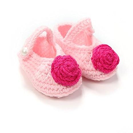 Zorux - Botas de tejer para recién nacido, diseño de flores rosas dulces, baratas