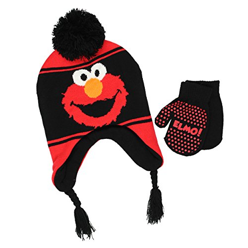 Sesame Street Boys Beanie Hat and Mittens Set (One Size, Black) (Elmo Clothes For Toddlers)