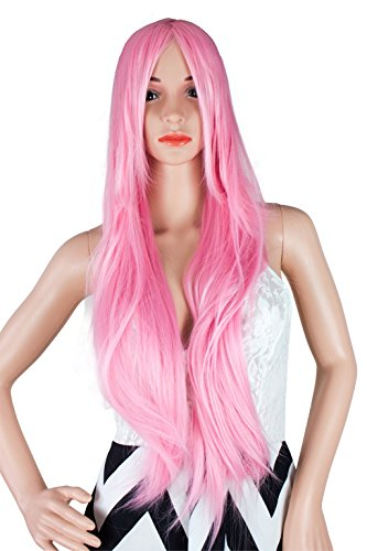 [WELLKAGE 32 Inches Long Straight Costume Pink Wigs for Women] (Pictures Of Punk Rocker Costumes)