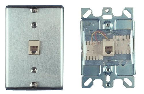 Allen Tel Products AT630B-4 Single Gang, 1 Port, 6 Position, 4 Conductor Wall Telephone Outlet Jack, Stainless Steel