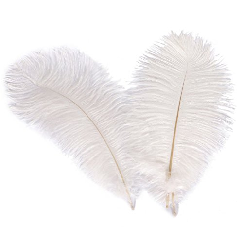 WIBEN Set of 100, 8-10inch Natural Ostrich Feathers Plume for Wedding Centerpieces Party Decoration (White)