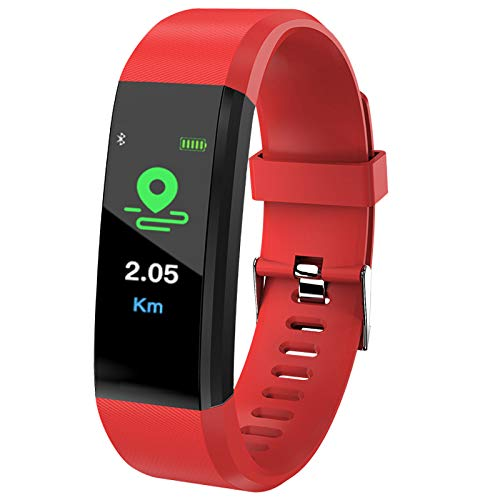 SP Pansy Intelligent Clock 0.9 inch Large OLED Screen, Touch-Sensitive Control Buttons.Real-time Static/Dynamic Heart Rate Monitor.Genneth Sports for iOS Android + Box (red)