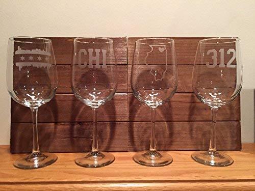 Chicago Wine Glasses- Four Chicago Wine Glasses - Chicago - Illinois - Chicago Wine - Barware - Chicago Gift (Chicago Wine Glass)