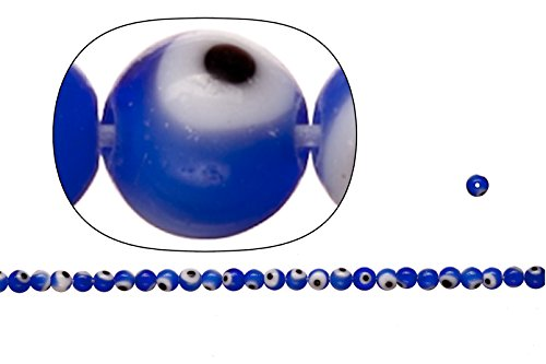 Glass beads, blue base evil eye amulet design, 4mm round. sold per 200pcs/(2x36cm) /string -
