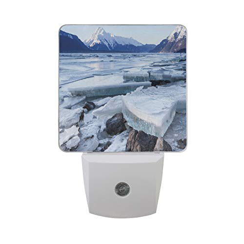 Colorful Plug in Night,Ice Chunks On The Side of Chilkat River in North America Winter Season,Auto Sensor LED Dusk to Dawn Night Light Plug in Indoor for Childs Adults]()