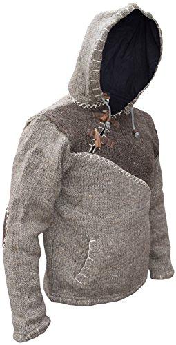 en natural Invierno Mix con con capucha cierre lana Sudadera Brown del Brown fabricada diagonal tejida de y Festival Light wXSUxvq6