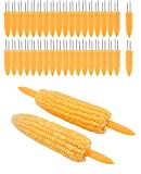 PAMASE 40 Pcs 3.4'' Stainless Steel Corn on the Cob Handle Skewers Holders Set, Corn Forks for BBQ Grill Home Cooking