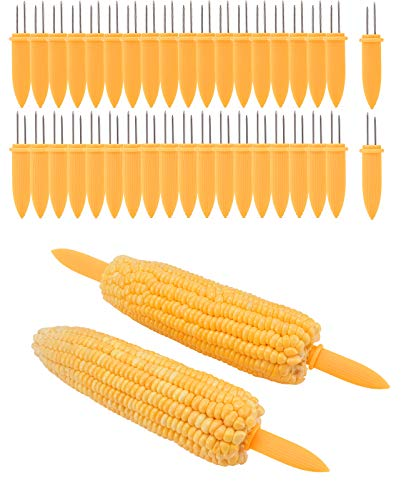 PAMASE 40 Pcs 3.4'' Corn on the Cob Holders Handle Skewers Set, Stainless Steel Corn Forks Kitchen Tool for BBQ Grill by PAMASE