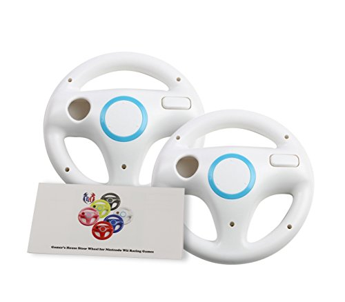GH 2 Pack Wii Steering Wheel for Mario Kart 8 and Other Nintendo Remote Driving Games, Wii (U) Racing Wheel for Remote Plus Controller - Original White (6 Colors Available)