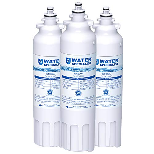 Waterspecialist ADQ73613401 Refrigerator Water Filter, Replacement for LG LT800P, Kenmore 9490, LSXS26326S, LMXC23746S, WF-LT800P, 469490, LMXC23746D, ADQ73613402, 46-9490 (Pack of 3)