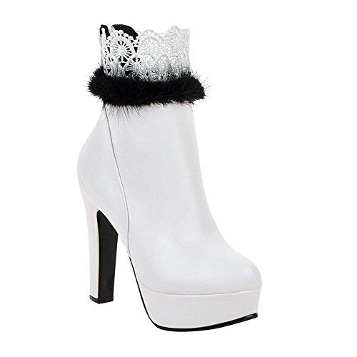 Carolbar Womens Zip Faux Lace Lace Fashion Dress Tacco Alto Stivaletti Bianchi