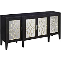 Clover Mirrored Cabinet, 34Hx72Wx19D, BLACK