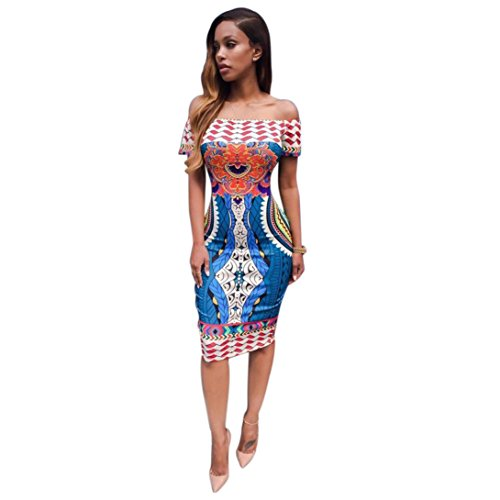 ea1dc5074755 Dress Clearance!Duseedik Women Traditional African Print Dashiki Bodycon  Sexy Short Sleeve Dress Womens Sexy Summer Medium Length Sleeves Dress (XL