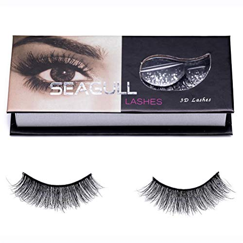 Hand-made False Eyelashes Mink Lashes–Seagull 1 Pair Of Shiny 3D Fluffy Fake Lashes For Makeup – Reusable Faux Eye Lashes With Premium Siberian Mink Fur – Easy To Wear Professional Grade Lash