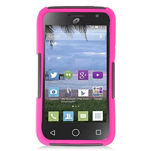 Alcatel One Touch Pop Star 2 Case, Eagle Cell Dual Layer [Shock Absorbing] Protection Hybrid Stand PC/Silicone Case Cover For Alcatel One Touch Pop Star 2, Black/Pink