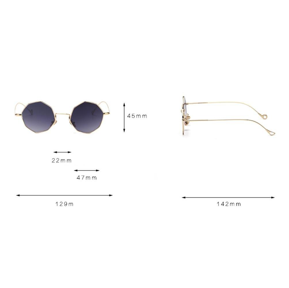 Z&YQ Lunettes de soleil géométrie symétrique octogonale vacances sauvages lunettes de soleil hommes et femmes , golden frame gradually coffee