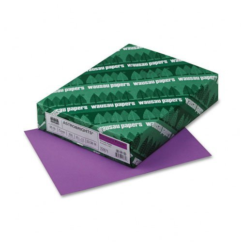 Wausau Paper : Astrobrights Colored Card Stock, 65lb, Planetary Purple, Letter, 250 Sheets -:- Sold as 2 Packs of - 250 - / - Total of 500 Each