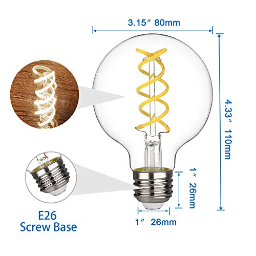G25(G80) 4.5W Vintage Globe Edison LED Bulb, Daylight White 5000K, Antique Flexible Spiral Filament Light Bulb, Dimmable 450lm, Equivalent to 40W, E26 Medium Base, Clear Glass (G80-4.5W-5000K-6pack)