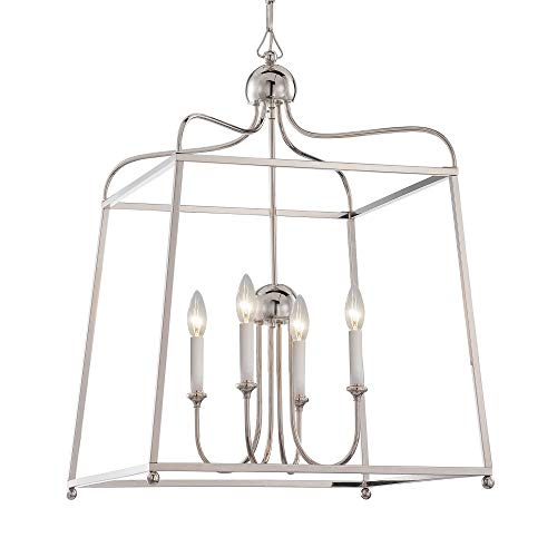 (Crystorama 2244-PN Transitional Four Light Chandelier from Libby for Crystorama:Sylvan collection in Chrome, Pol. Nckl.finish,)