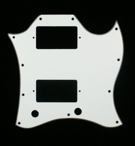 3 Ply Pickguard Fits SG Standard Guitar (Full Face) - WHITE